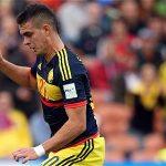 Rafael Santos Borré en el partido de la Selección Colombia Sub-20