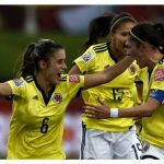 Daniela Montoya celebra el gol en el Moncton Stadium / AFP