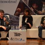 Piero,la escritora colombiana Maureén Maya, y al editor del diario El Espectador, Jorge Cardona.