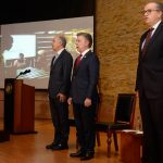 El Jefe del Estado, el Ministro de Justicia, Enrique Gil Botero y el Procurador General de la Nación, Fernando Carrillo Flórez