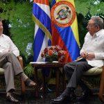 Reunión de los presidentes de Cuba y Colombia, Raúl Castro y Juan Manuel Santos, este lunes en La Habana, durante la cual trataron temas de interés común para los dos países.