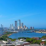 A modern development and Caribbean Sea in Cartagena Colombia.