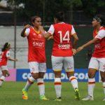 Las jugadoras de Independiente Santa Fe celebran un gol en la Copa Libertadores Femenina. Copa Libertadores Femenina