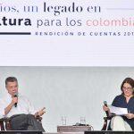 """""""Uno de los logros más importantes en estos 8 años ha sido la creación de nuevas fuentes de financiación para el sector de la cultura"""", dijo el Presidente Santos en el acto de rendición de cuentas de dicha cartera ministerial."""