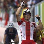 El polaco Michal Kwiatkowski a su llegada a la meta de la prueba de ruta del Mundial
