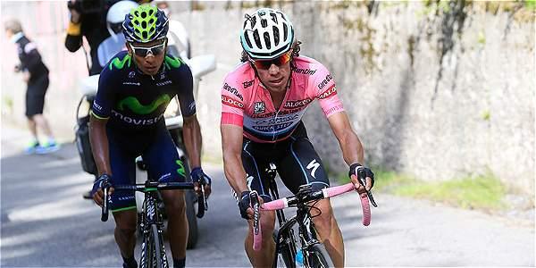 Nairo Quintana (izq.) y Rigoberto Urán (der.), compitieron en el Giro de Italia