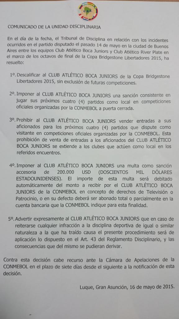 Comunicado oficial caso Boca-River