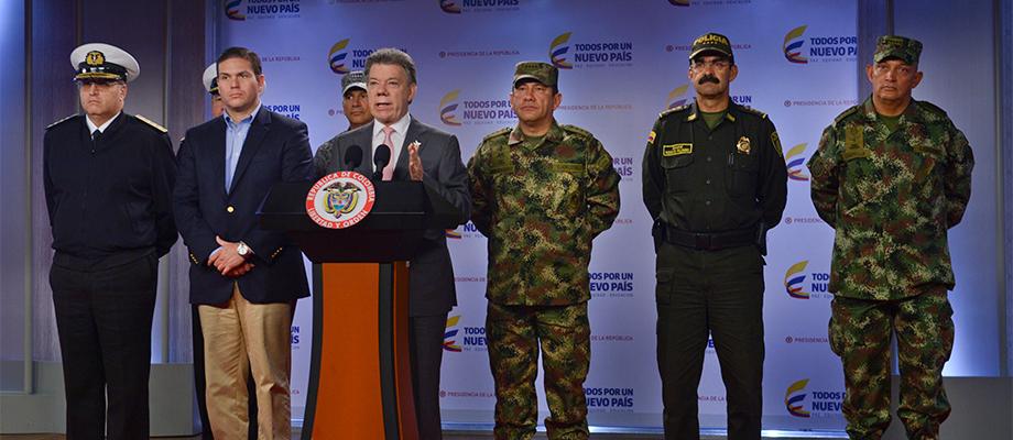 La orden es y seguirá siendo no bajar la guardia en la lucha contra la criminalidad, afirmó el Presidente Santos