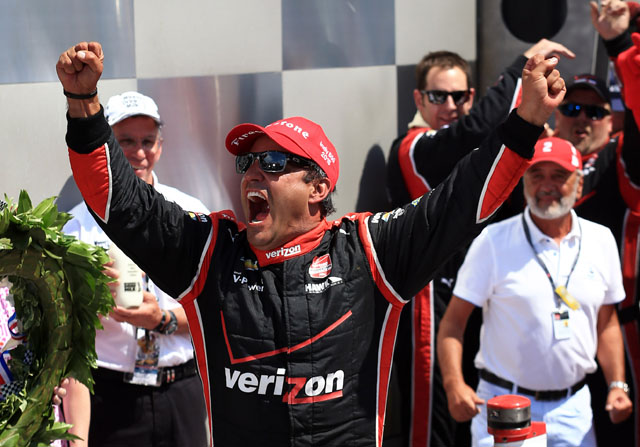 May 24, 2015; Indianapolis, IN, USA; IndyCar Series driver Juan Pablo Montoya celebrates after winning the 2015 Indianapolis 500 at Indianapolis Motor Speedway. Mandatory Credit: Andrew Weber-USA TODAY Sports