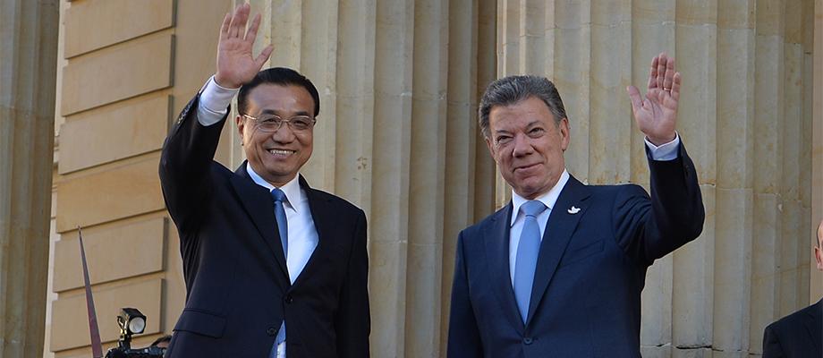 Saludo del Presidente Santos y el Primer Ministro de China, Li Keqiang, quien inició visita a Colombia