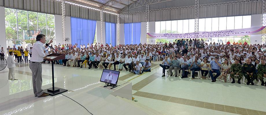 Desde Montelíbano, Córdoba, el Presidente Santos pidió a la Fuerza Pública mantener la ofensiva y garantizar la seguridad de los colombianos Foto: Juan Pablo Bello - SIG
