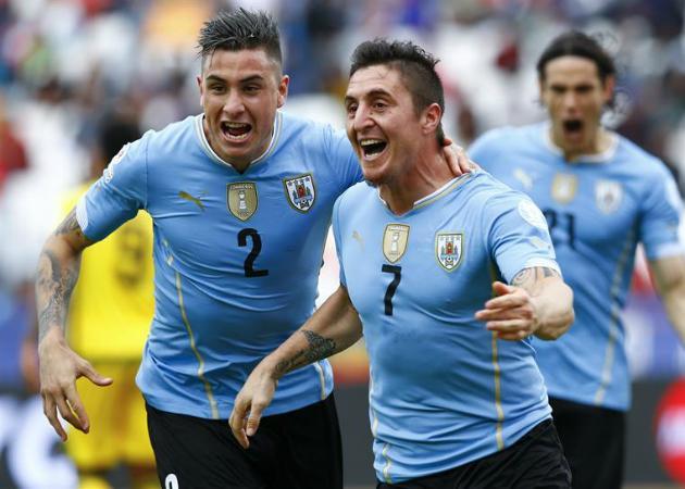Cristian Rodríguez, anotador del partido Uruguay 1 Jamaica 0. -