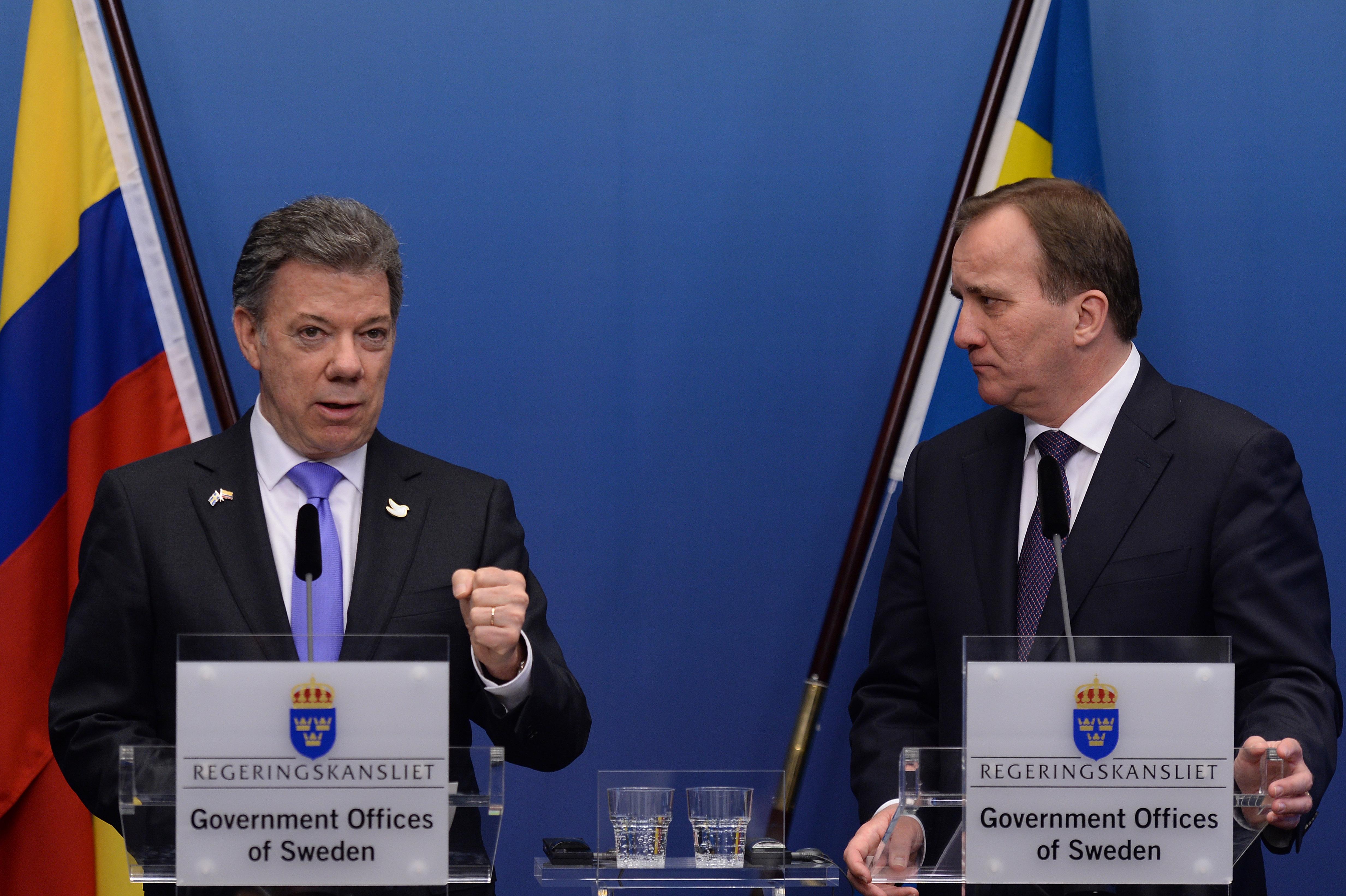 Foto: César Carrión - SIG El Presidente Juan Manuel Santos dijo este lunes en Estocolmo, luego de reunirse con el Primer Ministro sueco Stefen Lofven, que las Farc deben acelerar la negociación para poner fin al conflicto.