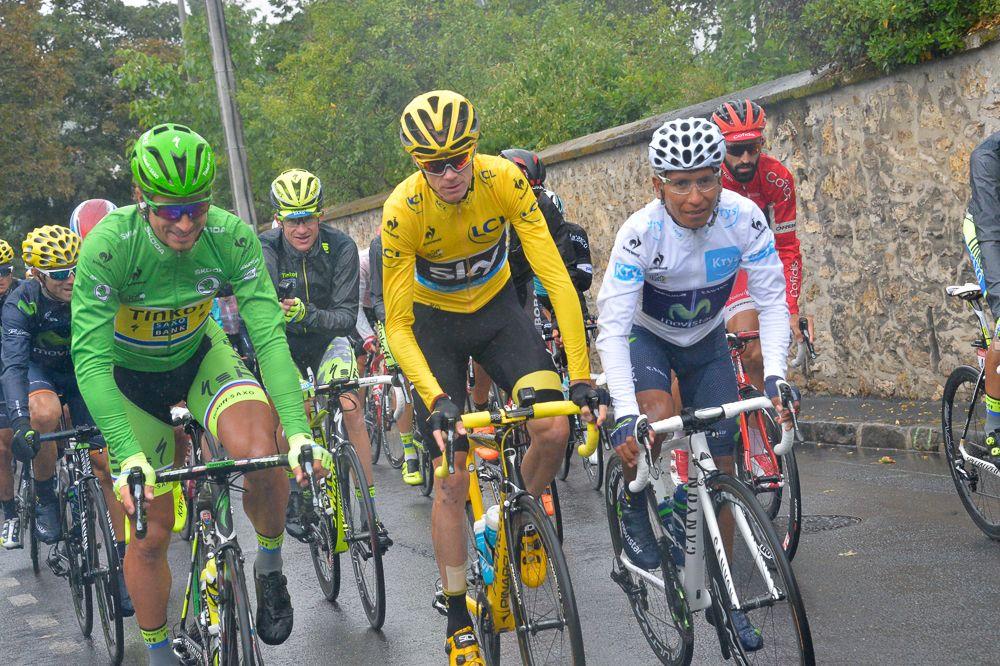 Tour de France 2015 - 26/07/2015 - 21ème Etape - Sevres / Paris - Champs Elysées - 109,5km - Les trois porteurs de maillot, Peter SAGAN (TCS) - Christopher FROOME (SKY) - Nairo QUINTANA (MOV)