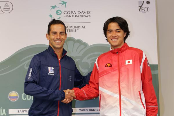 Santiago Giraldo y Taro Daniel, primer duelo de la serie entre Colombia y Japón