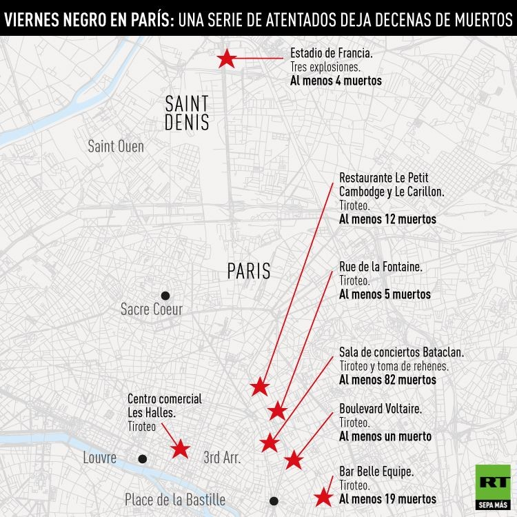 Mapa  del sitio de los atentados en Paris