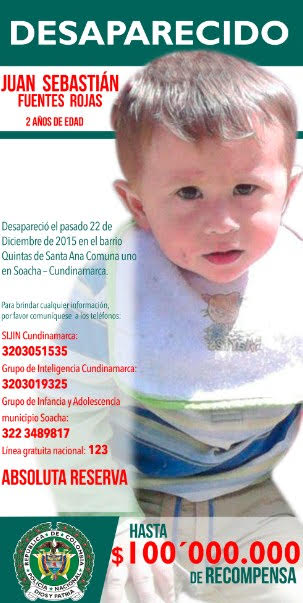 Nuevo cartel de búsqueda de Juan Sebastián Fuentes