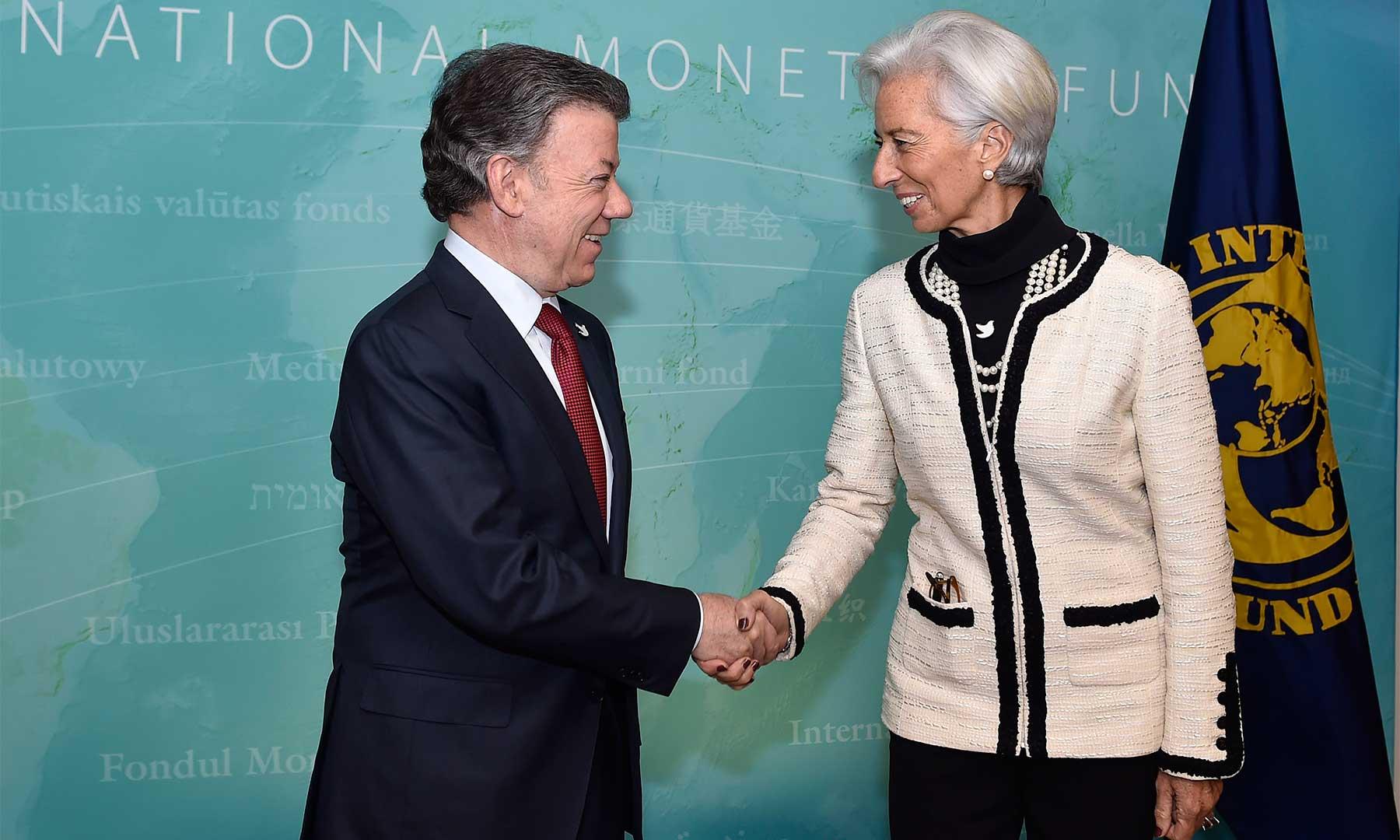 Directora del Fondo Monetario Internacional (FMI), Christine Lagarde, en Washington, el Presidente Juan Manuel Santos