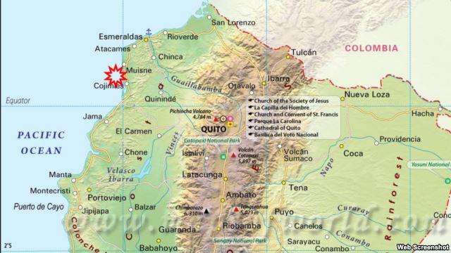 Fuerte  sismo 7,8 sacude costa de Ecuador