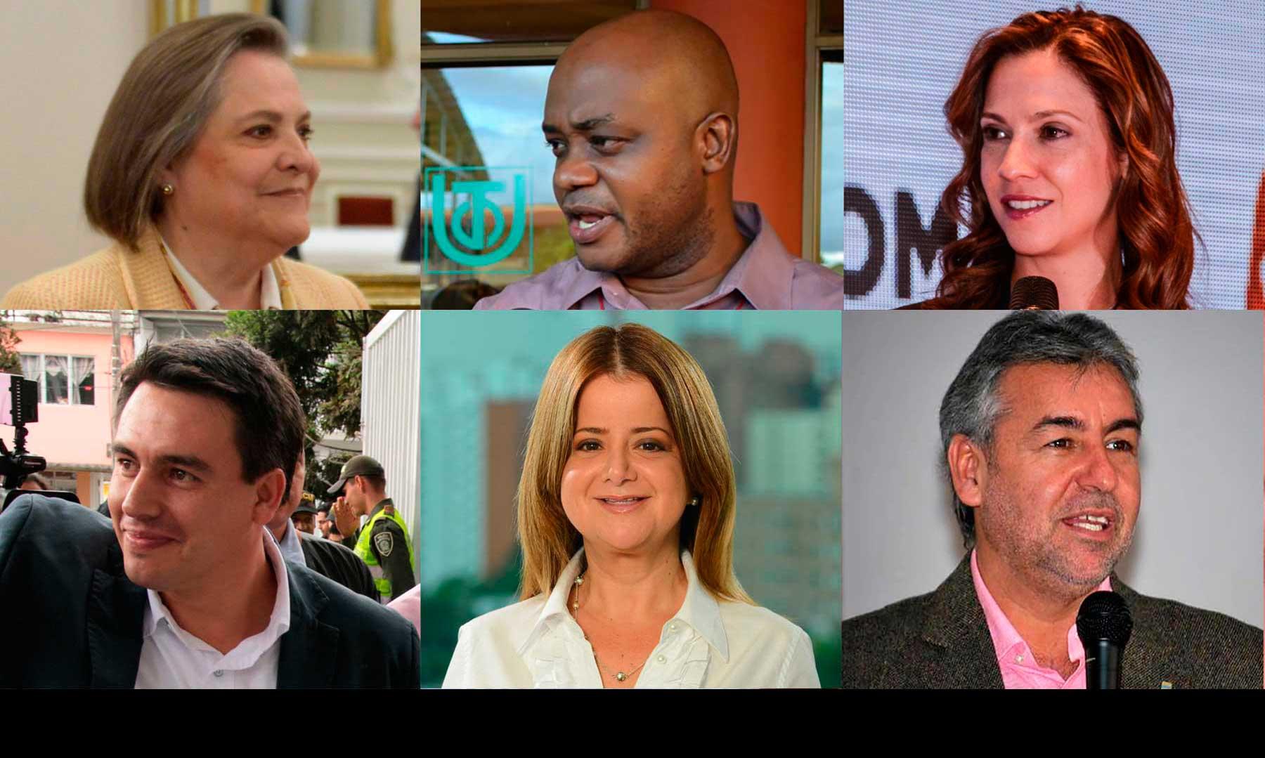 Los Nuevos Ministros: Clara López, trabajo; Luis Gilberto Murillo, ambiente; Maria Claudia Lacouture, comercio; Jorge Rojas, transporte;  Elsa Noguera, vivienda; y Jorge Londoño, justicia