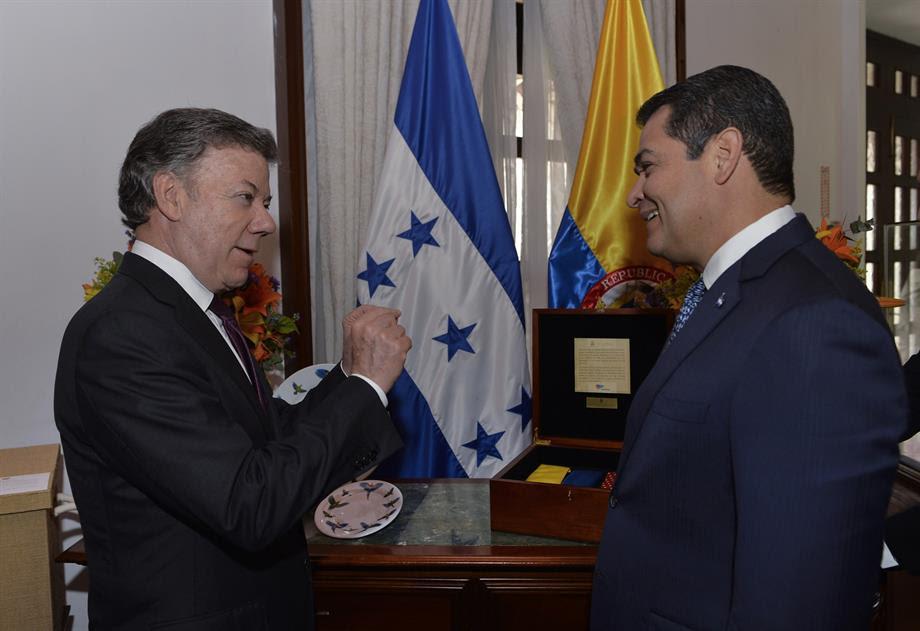Presidente Santos y su Homologo de  Honduras, Juan Orlando Hernández