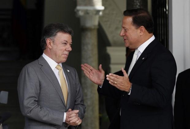 Presidente Santos y el presidente de Panamá, Juan Carlos Varela