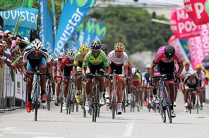 Imagen de la llegada de la tercera etapa de la Vuelta a Colombia con final de Montería