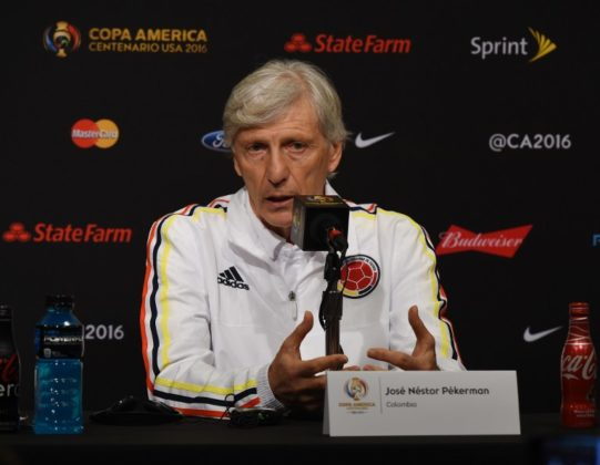 José Néstor Pékerman, coach of the Colombia men's soccer team, speaks to the media  at the Levi's Stadium in Santa Clara on June 2, 2016, before their opening COPA America 2016 match against the US.  / AFP PHOTO / Mark Ralston