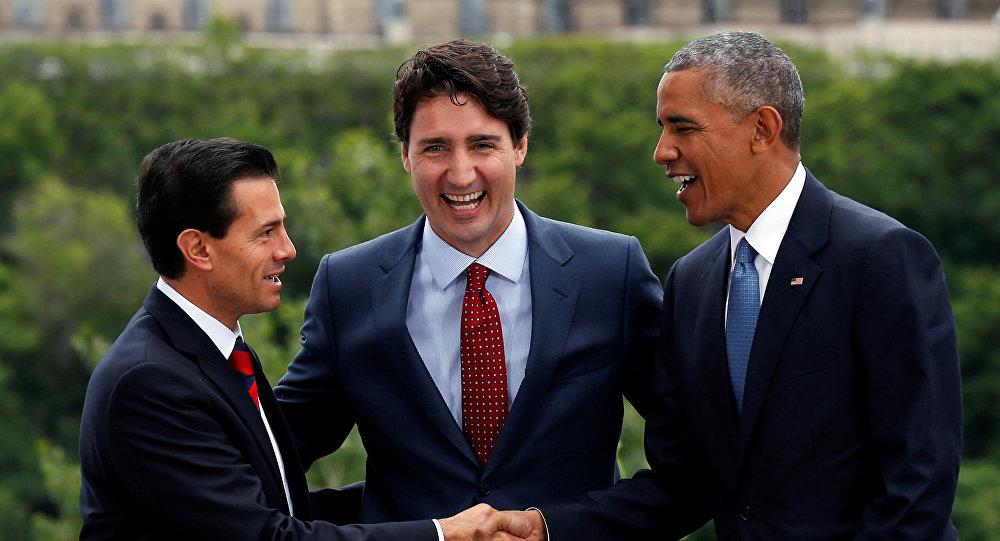 Presidentes de USA,  Barack Obama y México, Enrique Peña Nieto, y Canadá, Justin Trudeau.