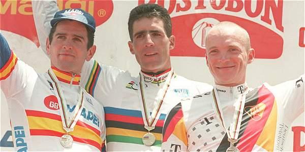 Colombia recibió el Mundial de Ciclismo en 1995. En la foto, el podio de la contrarreloj.