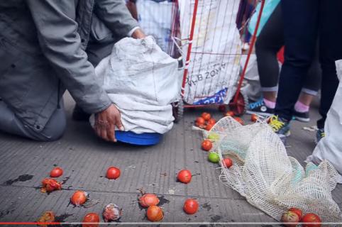 personas desplazadas buscan comida en la basura de Corabastos