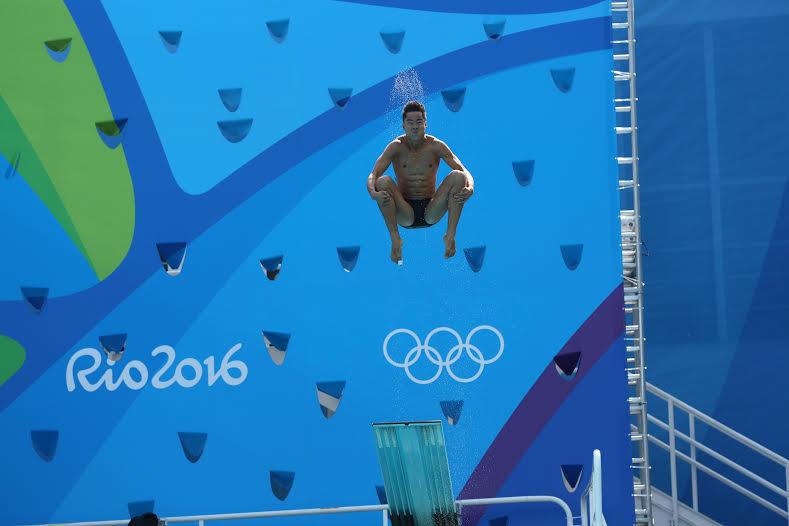 Sebastián Morales, en la final del trampolín de tres metros.