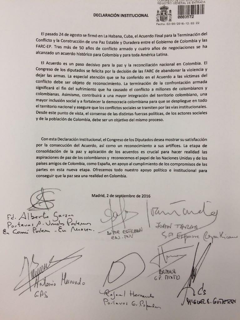 Congreso de los Diputados de España firmó declaración de apoyo al acuerdo de paz en Colombia y lo calificó como un paso histórico y decisivo