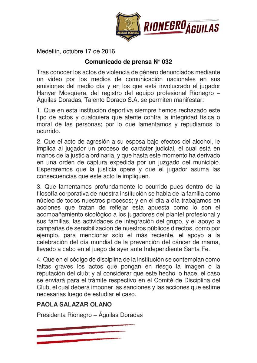 rionegro-aguilas-rechazo-acto-de-hanyer-mosquera-y-anuncio-sancion