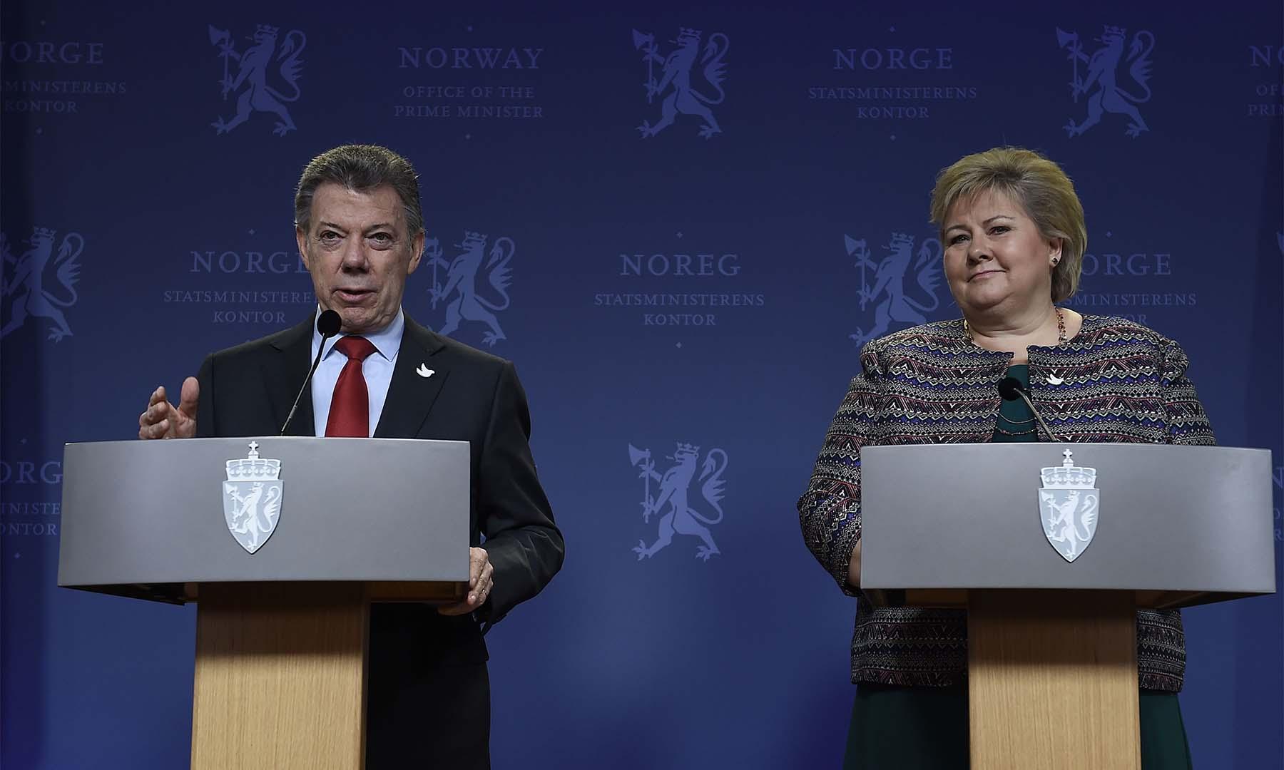 El Presidente Juan Manuel Santos agradeció el decidido apoyo de Noruega en el proceso de paz y celebró el anuncio de la Primera Ministra, Erna Solberg de que continuará con esa labor en la implementación del Nuevo Acuerdo.