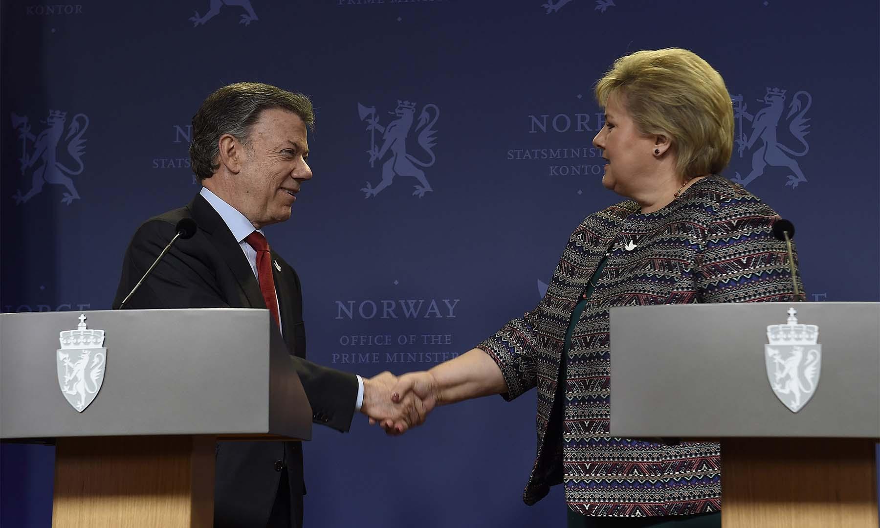 El Presidente Juan Manuel Santos manifestó que estará eternamente agradecido con Noruega y su Primera Ministra, Erna Solberg, por todo el acompañamiento y apoyo al proceso de paz y a la implementación del Nuevo Acuerdo.
