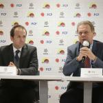 Junto a Ramón Jesurún, presidente de la Federación Colombiana de Fútbol, el máximo dirigente del deporte nacional hizo el anuncio del convenio, en el que también participa la División Mayor del Fútbol Colombiano, Dimayor