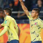 Cucho Hernandez celebra gol sobre Tahiti