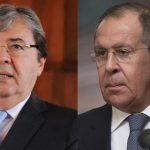 Ministros de Exteriores de Rusia, Serguéi Lavrov, y Colombia, Carlos Holmes Trujillo