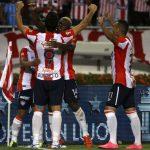 Roberto Ovelar celebra el primer gol del Júnior contra Nacional. Foto: Atlético Júnior