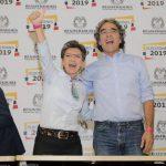 Claudia López y Sergio Fajardo, durante la inscripción de la candidatura a la Alcaldía.