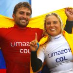 LIMA, PERU - AGOSTO 4: Isabella Gomez y Giorgio Gomez de Colombia Medalla de Oro de la disciplina de Surf en la modalidad de SUP durante los XVIII Juegos Panamericanos Lima 2019 en Punta Rocas el 4 de Agosto de 2019 enLima, Peru (Foto: Armando Marin/JAM MEDIA)