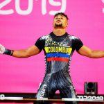 Francisco Mosquera logró las primeras medallas de la delegación colombiana en el Mundial de pesas 2019.COC