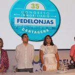 María Clara Luque, presidente de Fedelonjas; Jonathan Malagón, ministro de Vivienda; Mayra Rodríguez, presidente de la Lonja de Cartagena; y Reynel González, vicepresidente de Fedelonjas.