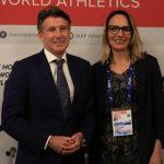 El presidente Sebastián Coe y María Ximena Restrepo vicepresidenta de IAAF2