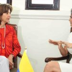 Las Ministras de Relaciones Exteriores de Colombia, María Ángela Holguín, y de Panamá, Isabel de Saint Malo, entregaron un balance a los medios de comunicación en el reiteraron la intención de continuar las conversaciones entre ambos países. Foto: OP-Cancillería.