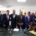 Al Alcalde Luis Gonzaga Correa tambien lo acompaño su mascota el perro de nombre masay
