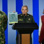 Ministro de Defensa (e), general Luis Fernando Navarro,General Óscar Athortúa,director de la Policia  y la ministra del Interior Nancy Patricia Gutiérrez. Foto: MinInterior
