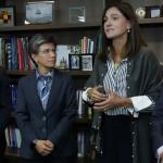 Ministra de Transporte, Ángela María Orozco, alcaldesa de Bogotá, Claudia López, Gobernador de Cundinamarca, Nicolás García y el Presidente de la Financiera de Desarrollo Nacional (FDN), Francisco Lozano