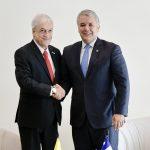 Durante su reunión bilateral en Montevideo, los Presidentes de Colombia, Iván Duque, y de Chile, Sebastián Piñera, acordaron fortalecer las relaciones de los dos países y dar nuevo impulso a la Alianza del Pacífico y Prosur. Fotografía: Efraín Herrera - PRESIDENCIA